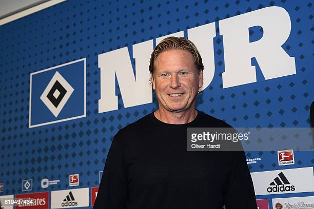New Head Coach Markus Gisdol of Hamburger Sport Verein speaks during the press conference at Volksparkstadion on September 26 2016 in Hamburg Germany
