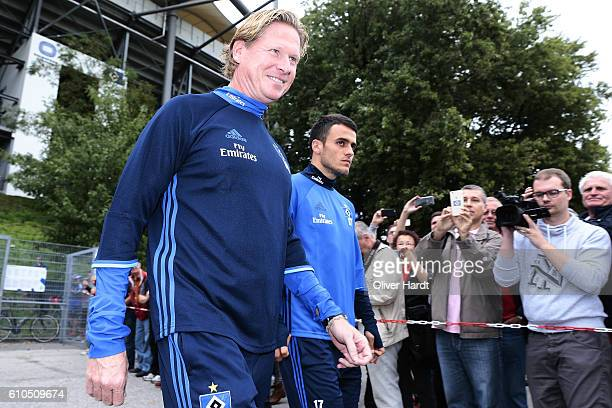 New Head Coach Markus Gisdol of Hamburger Sport Verein walk to the training session at Volksparkstadion on September 26 2016 in Hamburg Germany