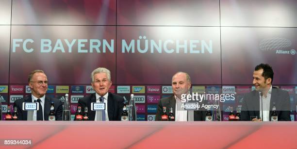 New head coach of German soccer club Bayern Munich Jupp Heynckes Chief Executive Officer of the team KarlHeinz Rummenigge team's President Uli...