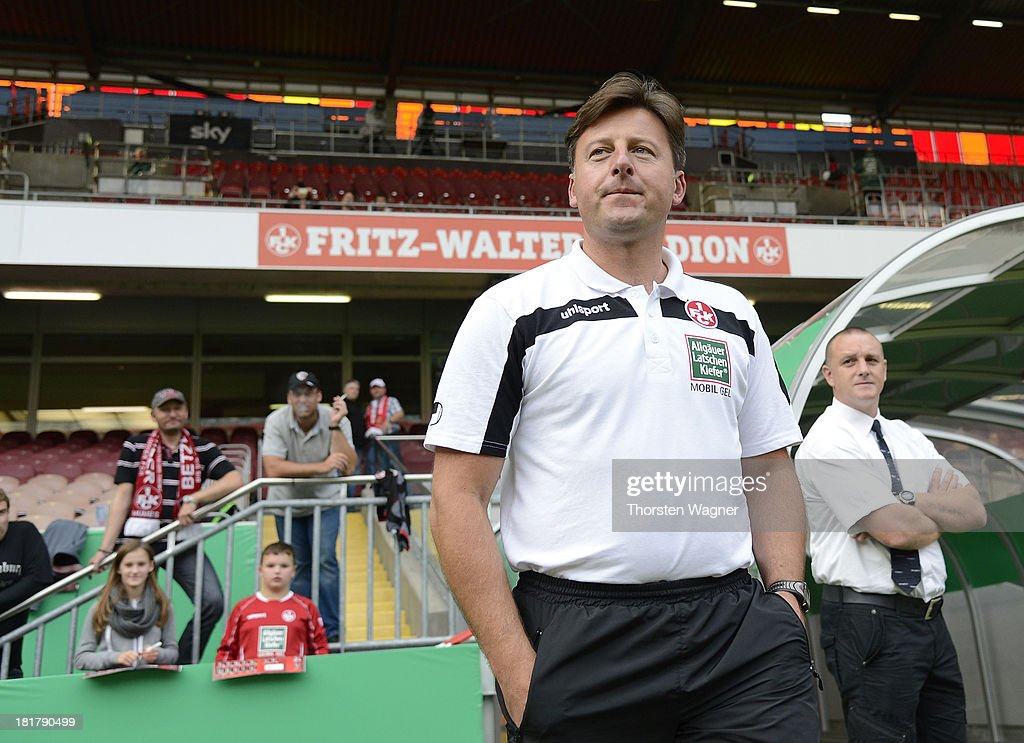New head coach of Kosta Runjaic looks on prior to the DFB Cup 2nd round match between 1.FC Kaiserslautern and Hertha BSC Berlin at Fritz-Walter-Stadion on September 25, 2013 in Kaiserslautern, Germany.