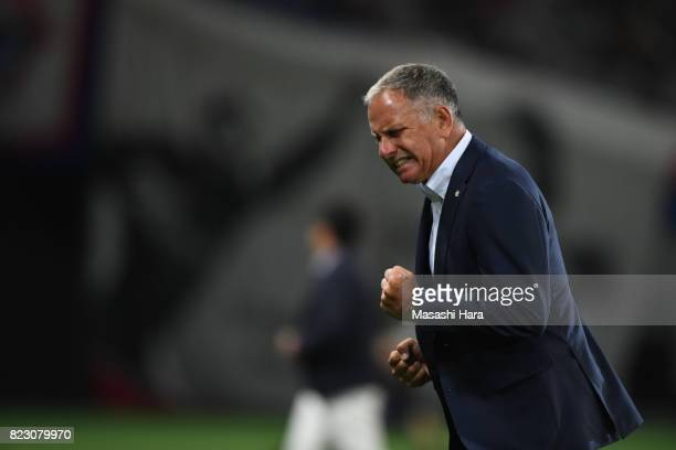 New head coach of Sanfrecce Hiroshima Jan Jonsson looks on during the JLeague Levain Cup PlayOff Stage first leg match between FC Tokyo and Sanfrecce...