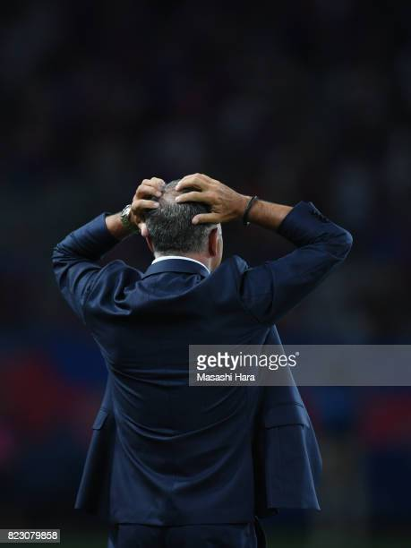 New head coach of Sanfrecce Hiroshima Jan Jonsson reacts during the JLeague Levain Cup PlayOff Stage first leg match between FC Tokyo and Sanfrecce...