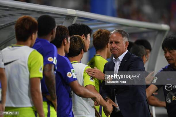 New head coach of Sanfrecce HiroshimaJan Jonsson looks on after the JLeague Levain Cup PlayOff Stage first leg match between FC Tokyo and Sanfrecce...