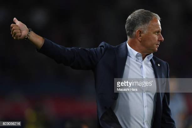 New head coach of Sanfrecce HiroshimaJan Jonsson looks on during the JLeague Levain Cup PlayOff Stage first leg match between FC Tokyo and Sanfrecce...