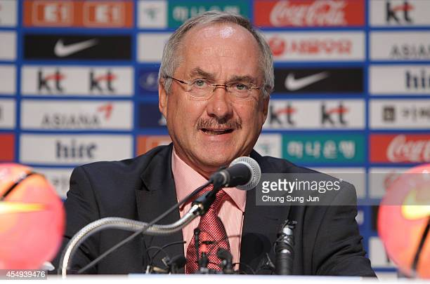 New head coach of South Korea's national football team Uli Stielike talks to the media during a press conference ahead of the international friendly...