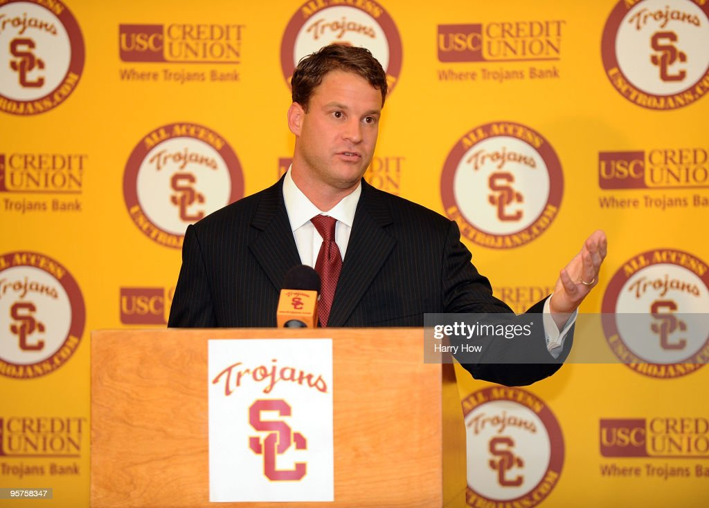 New head coach of the USC Trojans <a gi-track='captionPersonalityLinkClicked' href=/galleries/search?phrase=Lane+Kiffin&family=editorial&specificpeople=4120527 ng-click='$event.stopPropagation()'>Lane Kiffin</a> is introduced during a press conference at Heritage Hall January 13, 2010 in Los Angeles, California.