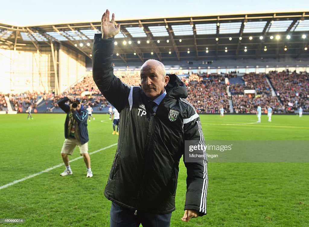 New head coach of West Bromwich Albion Tony Pulis waves to the crowd prior to the FA Cup Third Round match between West Bromwich Albion and Gateshead...