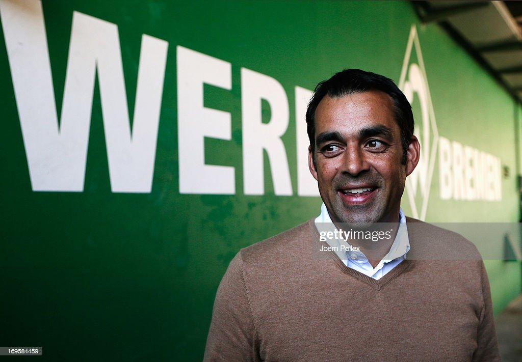 New head coach Robin Dutt is pictured after a press conference of SV Werder Bremen at Weser stadium on May 28 2013 in Bremen Germany
