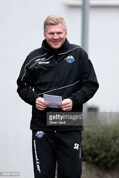 New Head coach Stefan Effenberg of SC Paderborn during the training session on October 14 2015 in Paderborn Germany