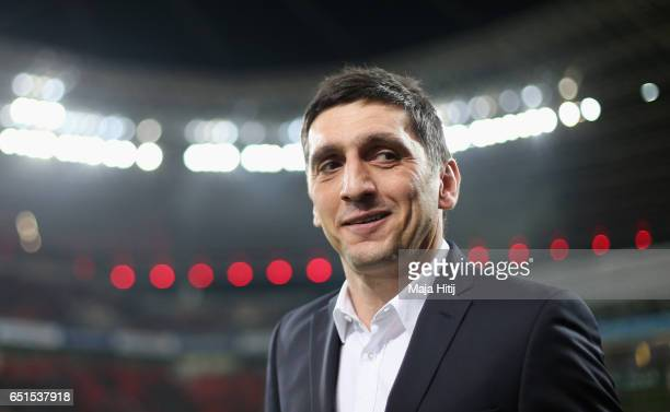 New head coach Tayfun Korkut of Leverkusen looks on prior to the Bundesliga match between Bayer 04 Leverkusen and Werder Bremen at BayArena on March...