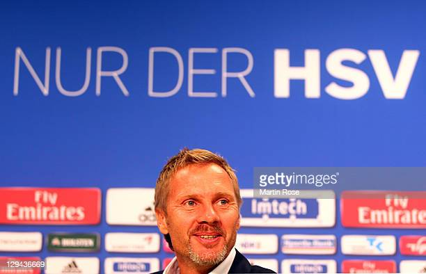New head coach Thorsten Fink attends the press conference of Hamburger SV on October 17 2011 in Hamburg Germany