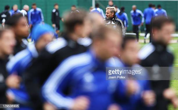 New head coach Thorsten Fink of Hamburg is seen during a Hamburger SV training session on October 18 2011 in Hamburg Germany
