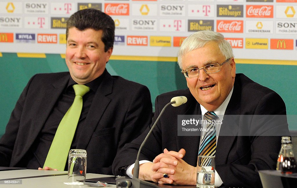 New head of referee Herbert Fandel (L) and president of German Football Association Theo Zwanziger smiles during the German Football Association (DFB) Bundestag at the Steigenberger Airport Hotel on April 9, 2010 in Mainz, Germany.
