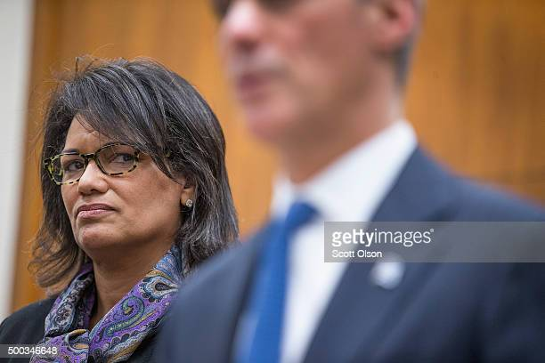 New head of the Independent Police Review Board Sharon Fairley listens as Mayor Rahm Emanuel speaks at a press conference on December 7 2015 in...