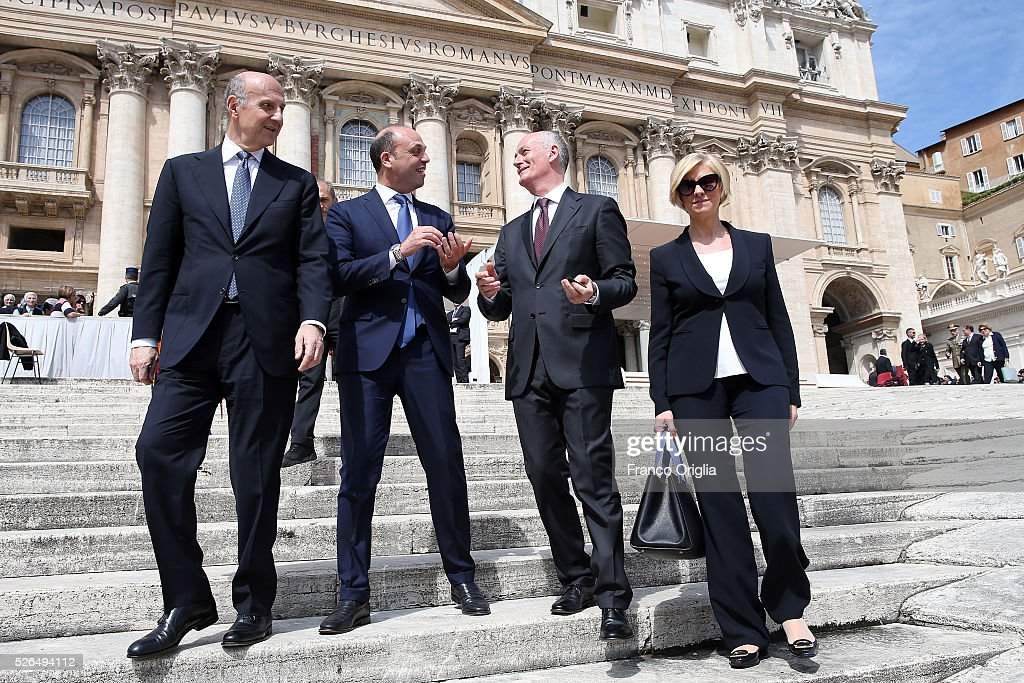 New head of the Italian Intelligence agency Alessandro Pansa, Interior Minister Angelino Alfano, New head of the Police Franco Gabrielli and Italian Defence Minister Roberta Pinotti attend the Pope Francis' Jubilee Audience in St. Peter's Square on April 30, 2016 in Vatican City, Vatican. Pope Francis held an extraordinary Jubilee Audience in St. Peter's Square for thousands of eager pilgrims. The Audience also celebrated the Jubilee for members of the police and armed forces.