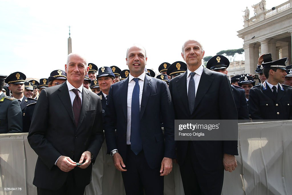 New head of the Police Franco Gabrielli, Interior Minister Angelino Alfano and New head of the Italian Intelligence agency Alessandro Pansa attend the Pope Francis' Jubilee Audience in St. Peter's Square on April 30, 2016 in Vatican City, Vatican. Pope Francis held an extraordinary Jubilee Audience in St. Peter's Square for thousands of eager pilgrims. The Audience also celebrated the Jubilee for members of the police and armed forces.