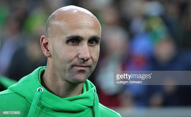 New headcoach Andre Schubert of Moenchengladbach looks on at the Bundesliga match between Borussia Moenchengladbach and FC Augsburg at BorussiaPark...