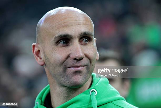New headcoach Andre Schubert of Moenchengladbach smiles during the Bundesliga match between Borussia Moenchengladbach and FC Augsburg at BorussiaPark...