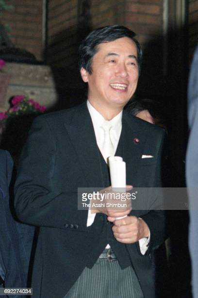 New Health Minister Naoto Kan departs for the Imperial Palace at Prime Minister Ryutaro Hashimoto's official residence on January 11 1996 in Tokyo...