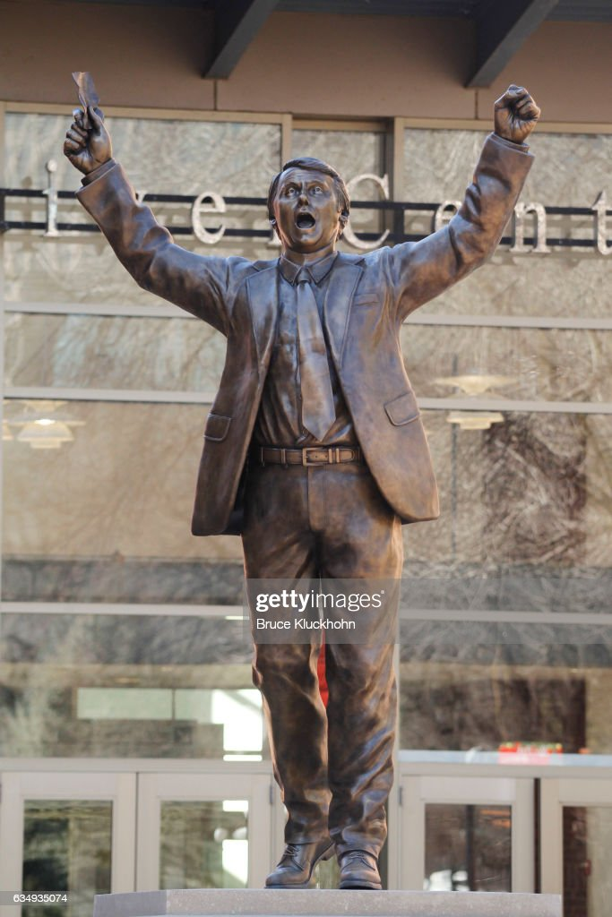 A new Herb Brooks statue is on display near the Xcel Energy Center prior to the game between the Minnesota Wild and the Detroit Red Wings on February 12, 2017 in St. Paul, Minnesota.
