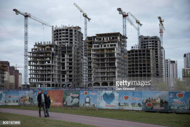 New high end residential appartments are constructed near the National Library in the Vostok area on July 03 2017 in Minsk Belarus The postSoviet...