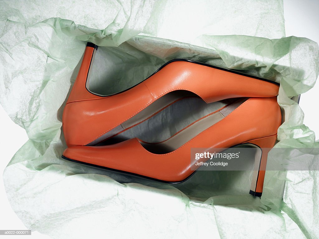 New High Heeled Shoes in Box : Stock Photo