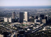 New high rise buildings in Century City are viewed from the air in this 1987 West Los Angeles California aerial photograph