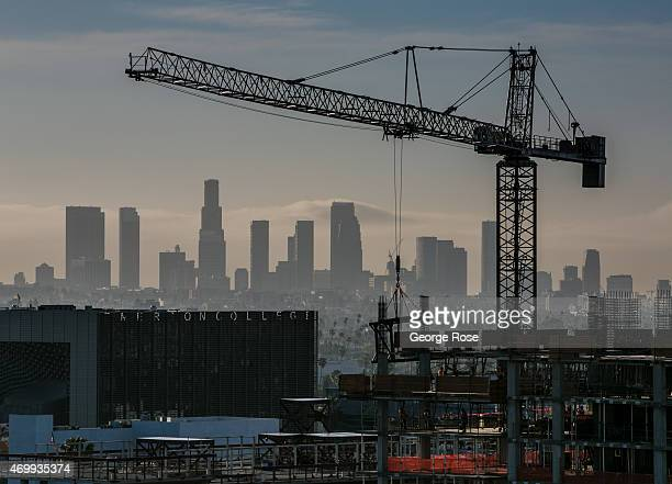 New highrise construction nearly blocks the downtown Los Angeles skyline as viewed from the W Hotel rooftop on Hollywood Boulevard on March 23 2015...