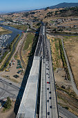 A new Highway 101 bridge over the Petaluma River is viewed from the air on June 22 over Petaluma California Growth has become a major political and...