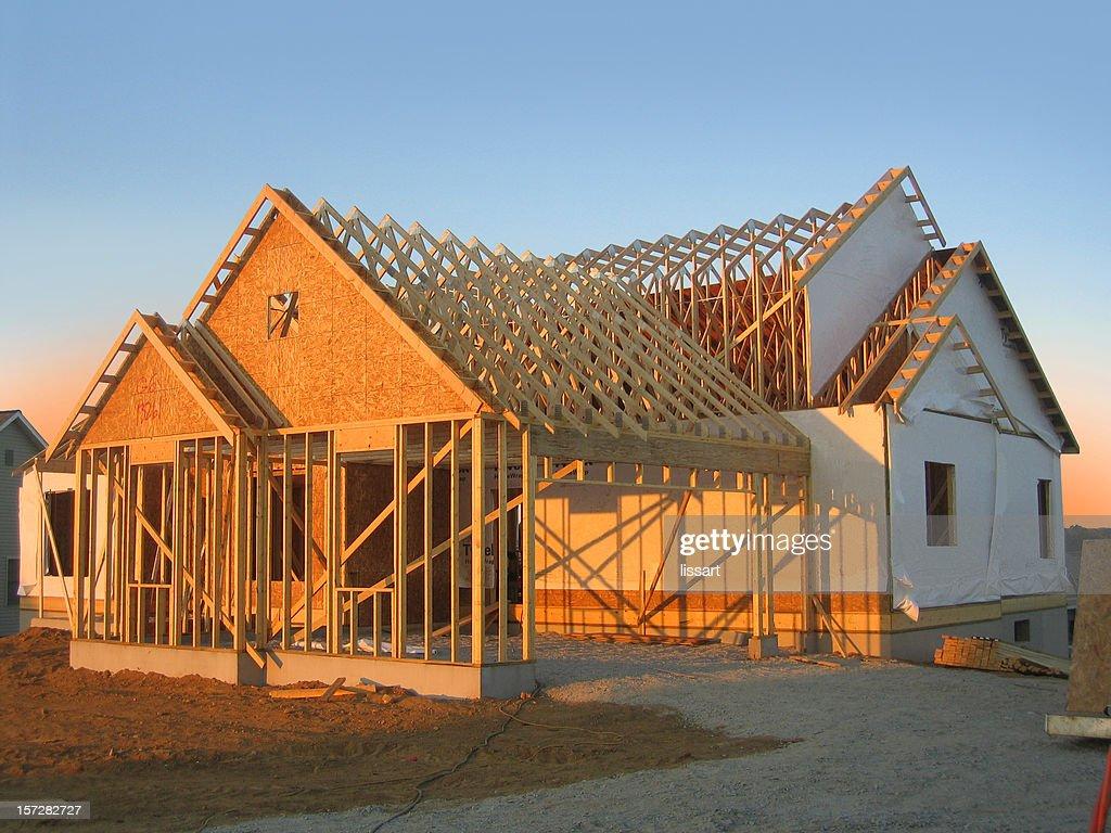 New Home Construction at Dusk : Stock Photo