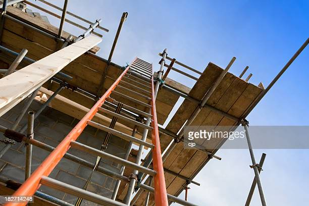 New Home Construction Site Scaffolding with Ladder