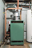 New Steam heat furnace fueled with natural gas.