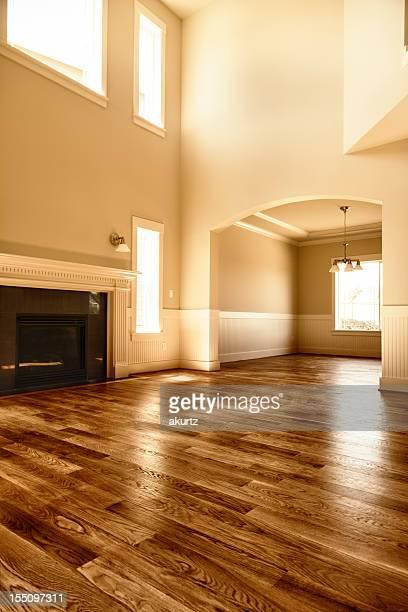 Nouvel intérieur de maison salle de séjour, une cheminée et un parquet en bois dur