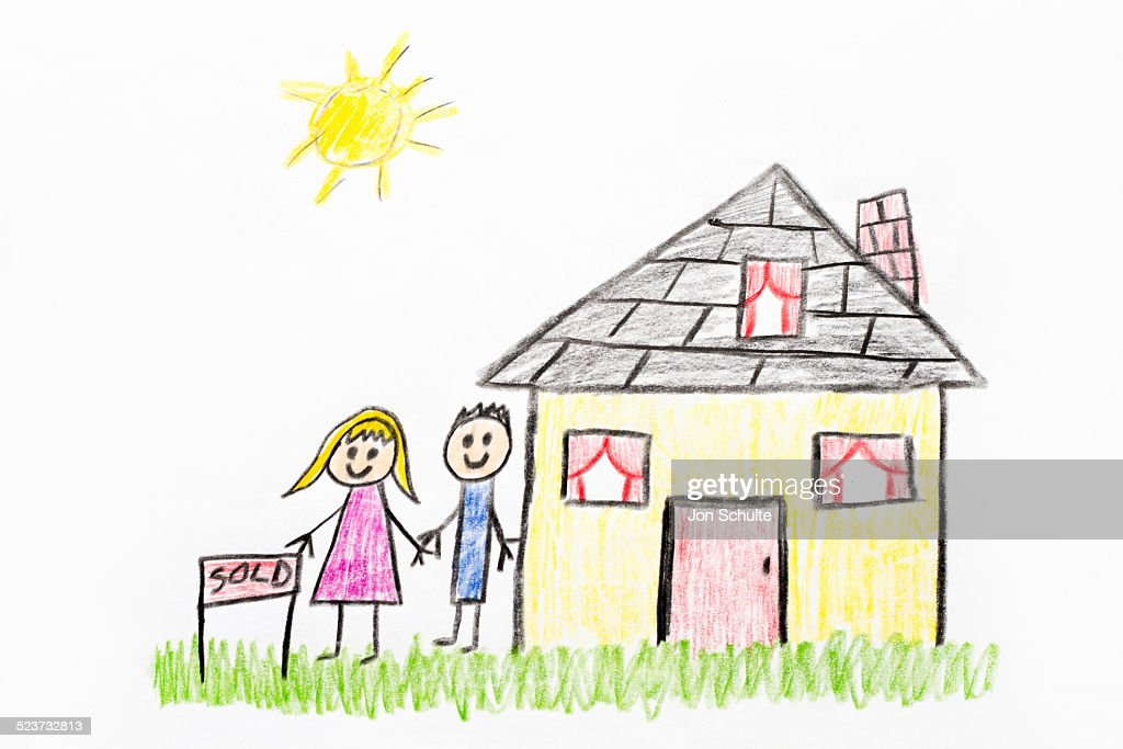 New home, kids drawing : Stock Illustration