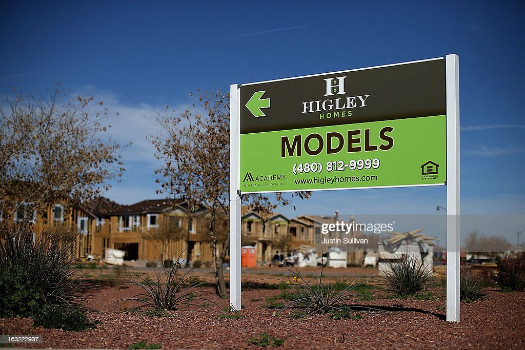 New homes are under construction at a housing development on March 6, 2013 in Gilbert, Arizona. In 2008, Phoenix, Arizona was at the forefront of the U.S. housing crisis with home prices falling 55 percent between 2005 and 2011 leaving many developers to abandon development projects. Phoenix is now undergoing a housing boom as sale prices have surged 22.9 percent, the highest price increase in the nation, and homebuilders are scrambling to buy up land.