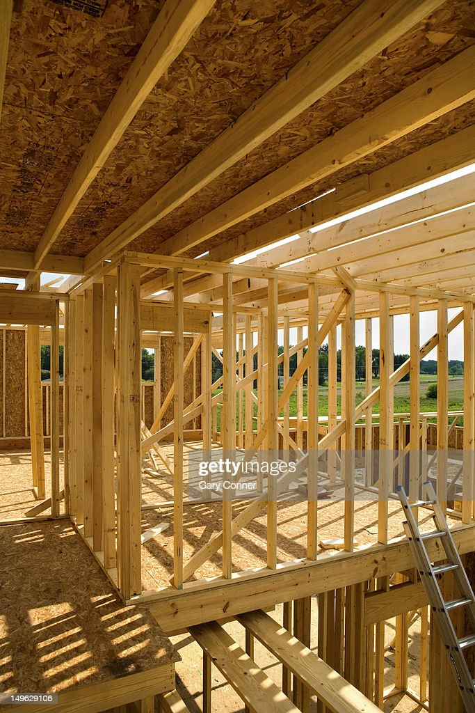 New homes being constructed : Stock Photo