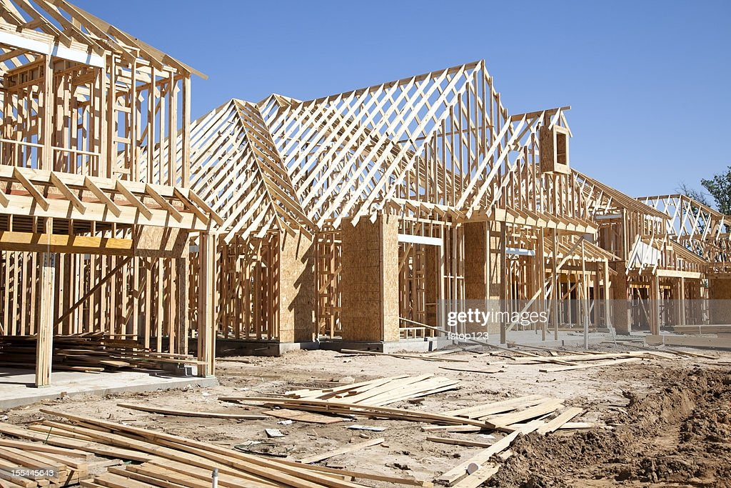 New homes construction site stock photo getty images for Home building sites