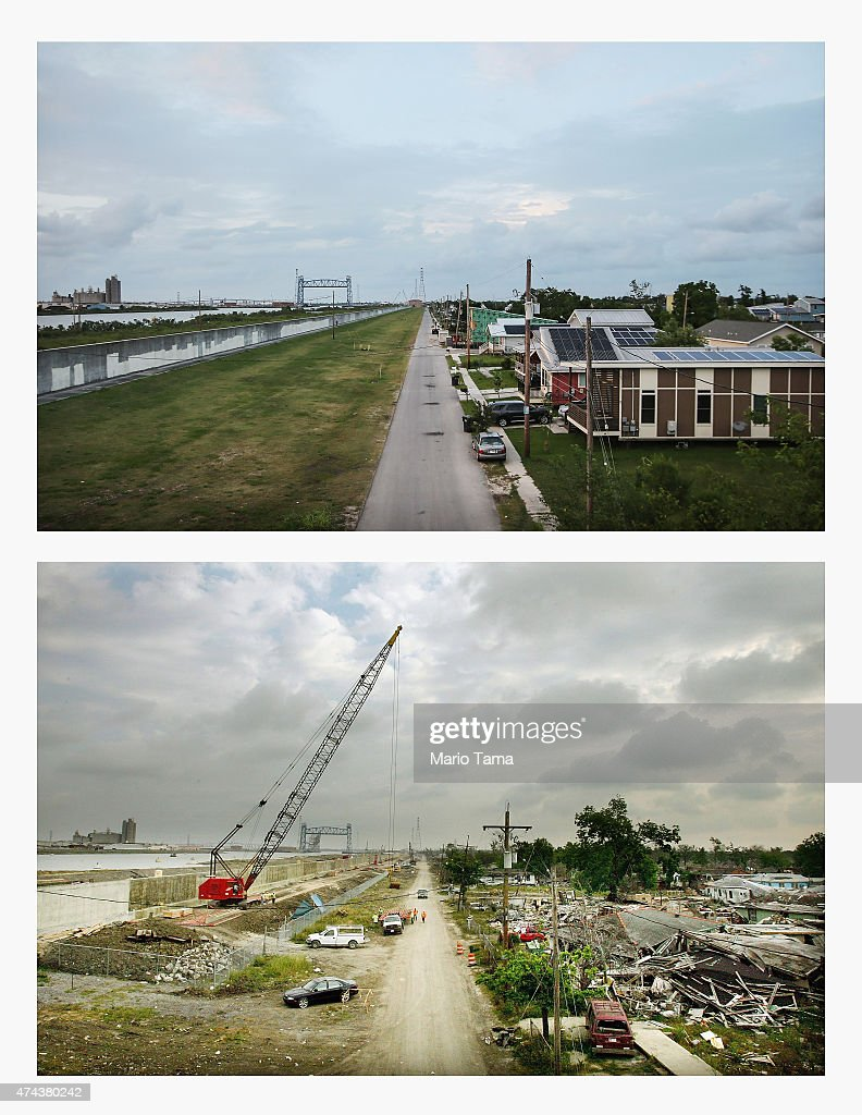 New homes stand along the rebuilt Industrial Canal levee in the Lower Ninth Ward on May 16 2015 in New Orleans Louisiana The tenth anniversary of...