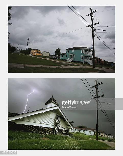 New homes stand in the Lower Ninth Ward on May 15 2015 in New Orleans Louisiana The tenth anniversary of Hurricane Katrina which killed at least 1836...