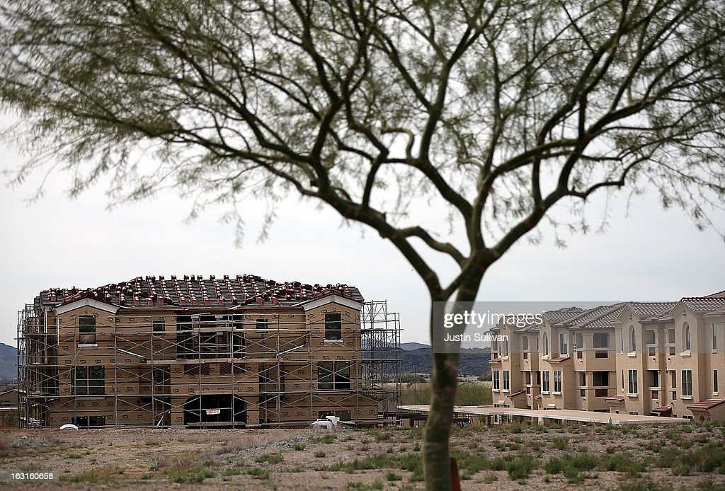 New homes under construction are seen on March 5, 2013 in Phoenix, Arizona. In 2008, Phoenix, Arizona was at the forefront of the U.S. housing crisis with home prices falling 55 percent between 2005 and 2011 leaving many developers to abandon development projects. Phoenix is now undergoing a housing boom as sale prices have surged 22.9 percent, the highest price increase in the nation, and homebuilders are scrambling to buy up land.