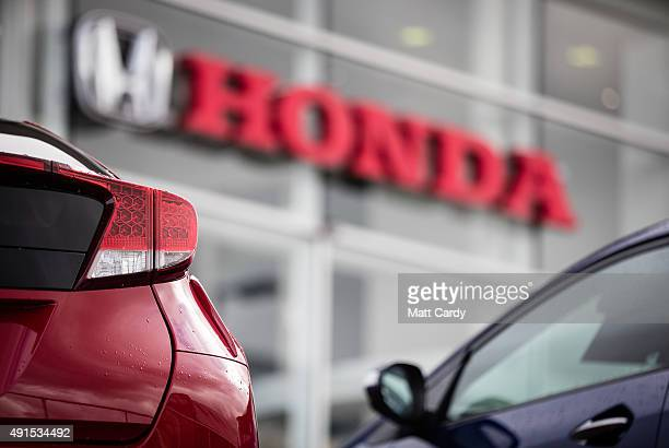 New Honda cars are offered for sale on the forecourt of a main motor car dealer in Brislington on October 6 2015 in Bristol England Latest data from...