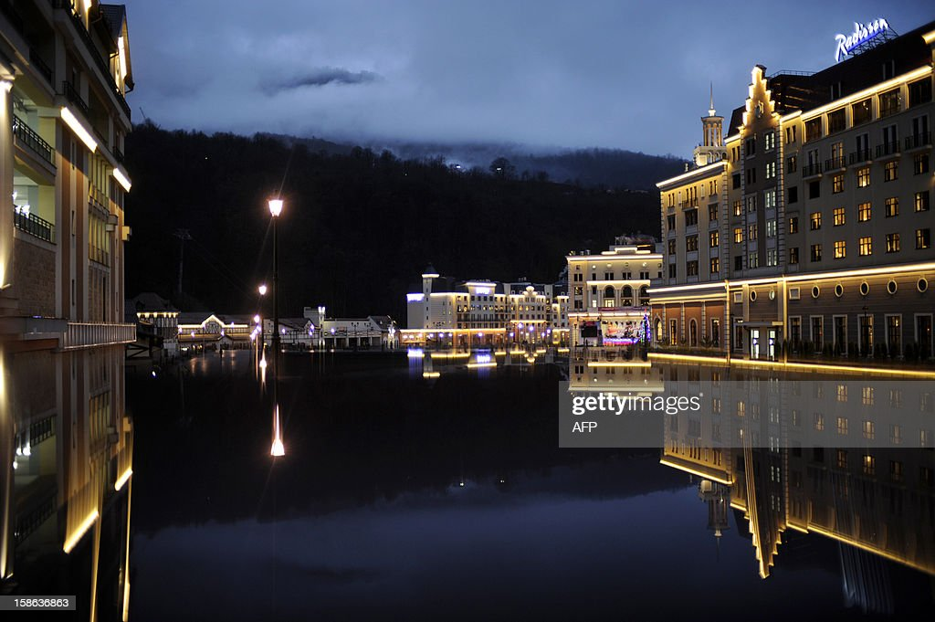 A new hotel complex is seen on December 22, 2012 at the Rosa Khutor Mountain Resort in Krasnaya Polyana, outside the Russian Black Sea resort of Sochi.