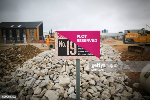 New house plots are offered for sale in the centre of the redeveloped Heartlands area of Camborne on July 25 2017 in Cornwall England Figures...