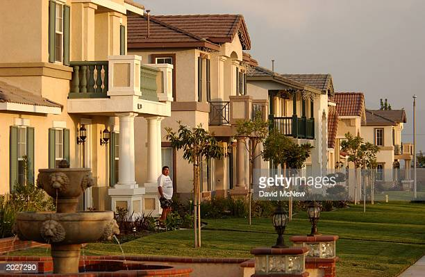 New houses line the street in the Inland Empire the area east of Los Angeles in Riverside and San Bernardino Counties May 23 2003 in Ontario...