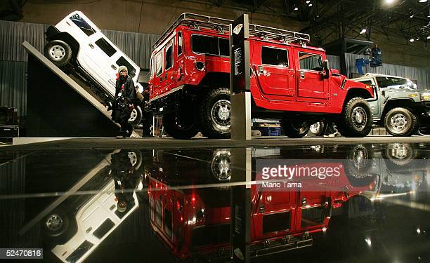 New Hummers are sit at the 2005 New York International Auto Show March 23 2005 in New York City The show features nearly 1000 automobiles and...