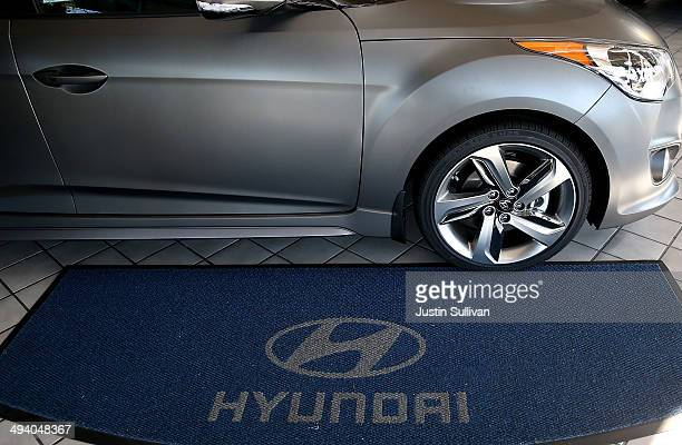 A new Hyundai car is displayed in the showroom at Hanlees Hyundai on May 27 2014 in Richmond California According to a report by the Union of...