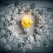 New idea concept with crumpled paper and light bulb