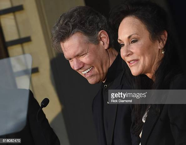 New Inductee Randy Travis with his wife Mary Davis attend the CMA Presentation of The 2016 Country Music Hall Of Fame Inductees Announcement at the...