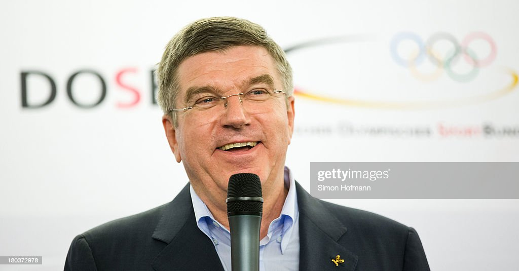 New IOC President <a gi-track='captionPersonalityLinkClicked' href=/galleries/search?phrase=Thomas+Bach&family=editorial&specificpeople=610149 ng-click='$event.stopPropagation()'>Thomas Bach</a> smiles during his speech at DOSB headquarters on September 12, 2013 in Frankfurt am Main, Germany.