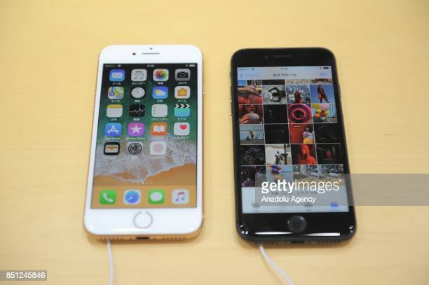 New iPhone 8 models are displayed at a telecom shop in Omotesando Avenue in Tokyo Japan on September 22 2017 Apple sales its new iPhone models Apple...